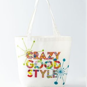 Neiman Marcus Crazy Good Style Art Canvas Tote Bag